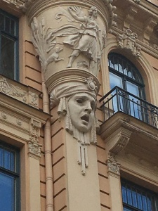 detail from apartment building facade in riga