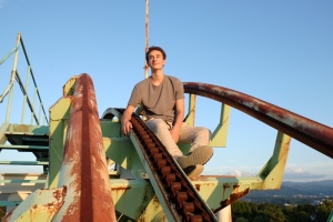 jack on top of the world, or at least a roller coaster