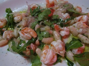 shrimp and fava bean salad at corte de principe
