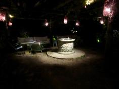 hidden garden at night
