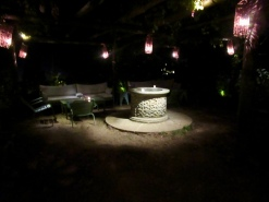 hidden garden at night