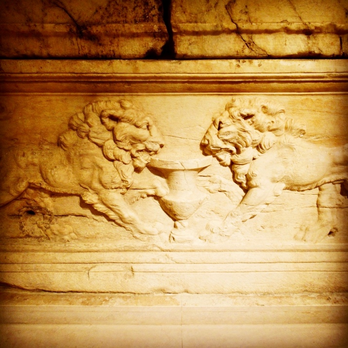 detail of roman lions