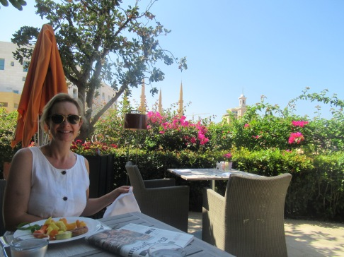 breakfast overlooking the mosque, le gray hotel, beirut