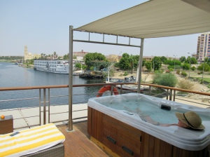seeing the nile from my private hot tub on th oberoi philae