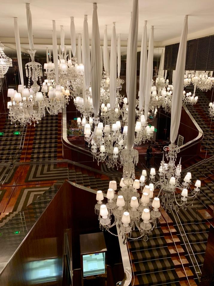 baccarat chandeliers at le royal monceau