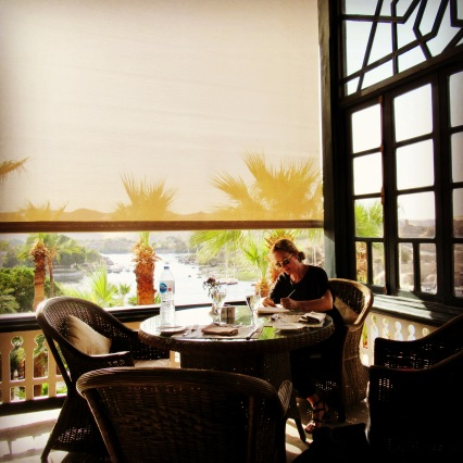me, working at agatha christie's favourite spot