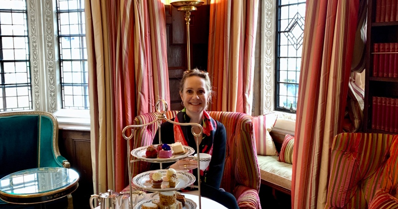 enjoying high tea at the the milestone
