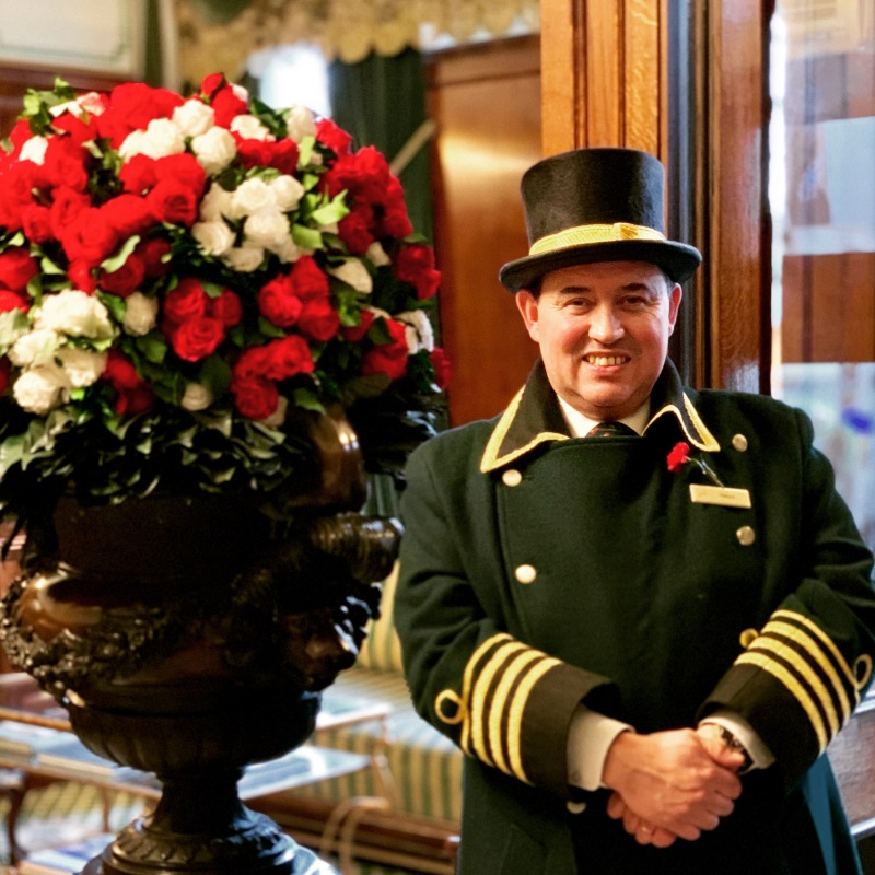 a warm welcome from Patrico, one of the wonderful doormen at the milestone