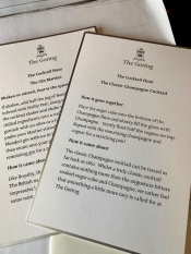 notes about the evening cocktails made in suites each evening