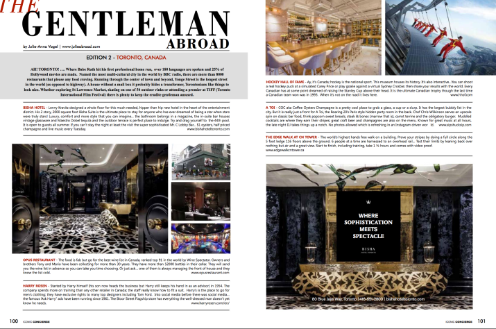 The Gentleman Abroad, my column in Iconic Concierge Magazine