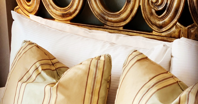 luxurious bedding at the Wedgewood Hotel