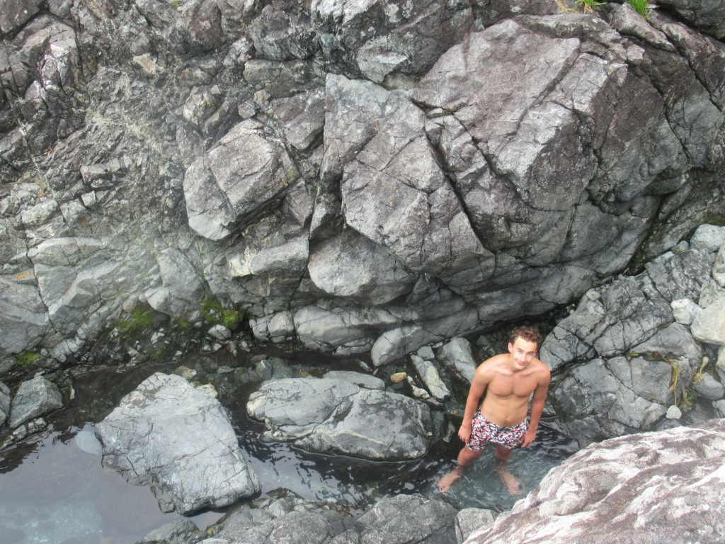 Jack Vogel exploring the hot springs while we were staying at Tofino Resort & Marina