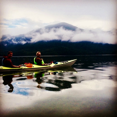 Jack & I kayaking while staying at Tofino Resort & Marina