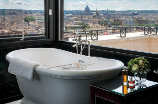 tub with a view at the Hassler