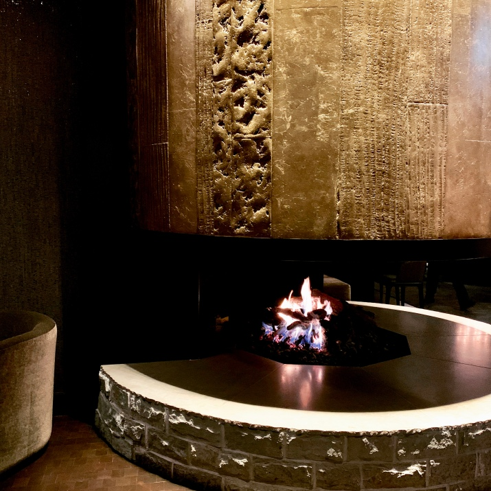 the elegant fireplace at Sidecut Restaurant at the Four Seasons Resort & Residences, Whistler