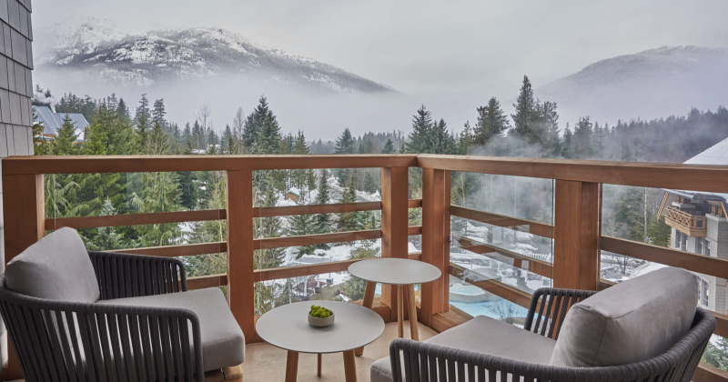 the balcony of the Blackcomb Suite, Four Seasons Resort & Residence, Whistler